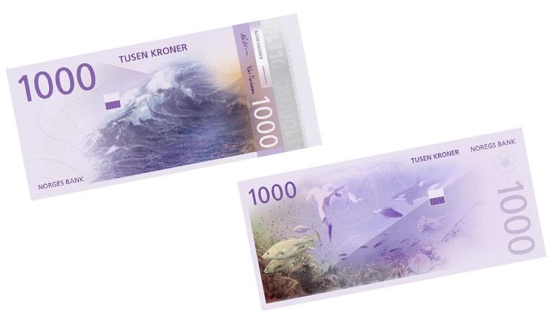 Το χαρτονόμισμα για τις 1000 κορώνες απεικονίζει τοπία σε βαθιές αποχρώσεις του μωβ