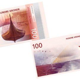 Εικόνες pixel με έμπνευση από τις νορβηγικές ακτές, παραμορφωμένες σύμφωνα με την κλίμακα ανέμων Μποφόρ και στο πίσω μέρος ένα χαρακτηριστικό πλοίο των Βίκινγκ για το χαρτονόμισμα των 100 κορώνων