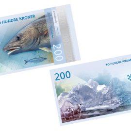 Ο σολομός της Νορβηγίας και τα παγόβουνά της αναπαριστώνται στις 200 κορώνες