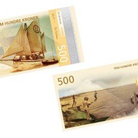 Στιγμές από τη ζωή κοντά στη θάλασσα με μία ελαφρά ρομαντική διάθεση για το χαρτονόμισμα των 500 κορώνων