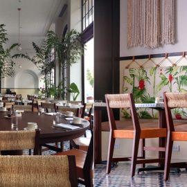 Η τραπεζαρία, γεμάτη φυτά, αποπνέει το αποικιακό στιλ του ξενοδοχείου // Εκπληκτικός συνδυασμός του παραδοσιακού με το μοντέρνο