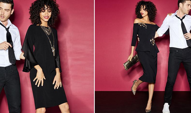 Το μαύρο φόρεμα είναι πάντοτε μία ασφαλής επιλογή. Για φέτος, διαλέξτε ένα σατέν ή βελούδο αλλά με ενδιαφέρον κόψιμο και γραμμή και συνδυάστε το με κόκκινα ή χρυσαφί αξεσουάρ και εντυπωσιακά κοσμήματα