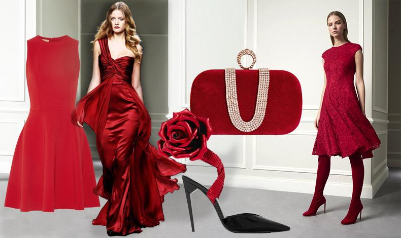 Ρεβεγιόν χωρίς κόκκινο; Δεν γίνεται! Είτε ένα εντυπωσιακό μάξι είτε ένα πιο μίνιμαλ φόρεμα ή πάλι μία κόκκινη δαντέλα τραβά όλα τα βλέμματα. Διαφορετικά, επιλέξτε κόκκινα αξεσουάρ, όπως ένα βραδινό clutch ή ανάλογα παπούτσια!