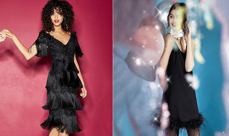Το μαύρο φόρεμα παίρνει άλλη διάσταση αν είναι από κρόσσια, θυμίζοντας δεκαετία του '20 αλλά σε μοντέρνα εκδοχή // Ένα μικρό μαύρο φόρεμα με φτερά και τα ανάλογα κοσμήματα για γιορτινό λουκ