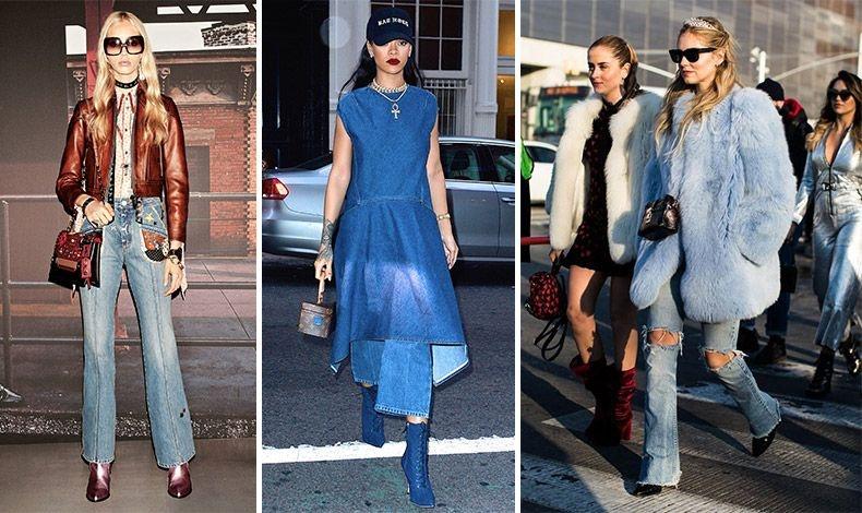 Φορέστε το τζιν σας με εντυπωσιακά αξεσουάρ, με γούνα ή όπως η Rihanna ένα φόρεμα συνδυασμένο με τζιν μποτίνια