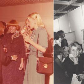 Γυρνώντας στο παρελθόν? η Έλλη Μηνιώτη -μητέρα της Αθηνάς και της Βίκυς- (στο κέντρο) υποδέχεται τις κομψές πελάτισσες στα εγκαίνια του κομμωτηρίου το 1974 // Η Έλλη Μηνιώτη με την Ειρήνη Σκλήβα, την οποία χτένισε για τα καλλιστεία, όταν στέφθηκε Μις Ελλάς
