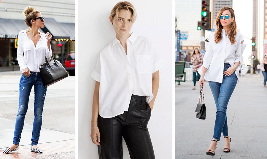 Το κλασικό λευκό πουκάμισο φορεμένο με ένα τζιν και πάνινα παπούτσια (αριστερά)  ή με ψηλοτάκουνα πέδιλα (δεξιά) είναι διαχρονικό. Φέτος, τα ανοιχτά κουμπιά ή τα ιδιαίτερα κοψίματα γίνονται μόδα // Ένα λευκό πουκάμισο με κοντά μανίκια φορεμένο μισό μέσα μισό έξω από ένα παντελόνι είναι η νέα ιδέα