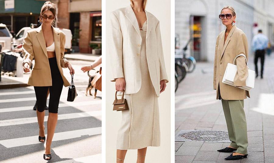 Το φαρδύ σακάκι με biker βερμούδα, κοντό τοπ και τσόκαρα γίνεται ένα άκρως σέξι και θηλυκό λουκ, όπως το φορά η Emily Ratajkowski // Φαρδύ σακάκι με ίσιο φόρεμα σε κρεμ χρώμα κατάλληλο για όλες τις ώρες και για το γραφείο // Επιλέξτε ανοιχτό χρώμα και συνδυάστε το με παντελόνι και μεγάλη τσάντα