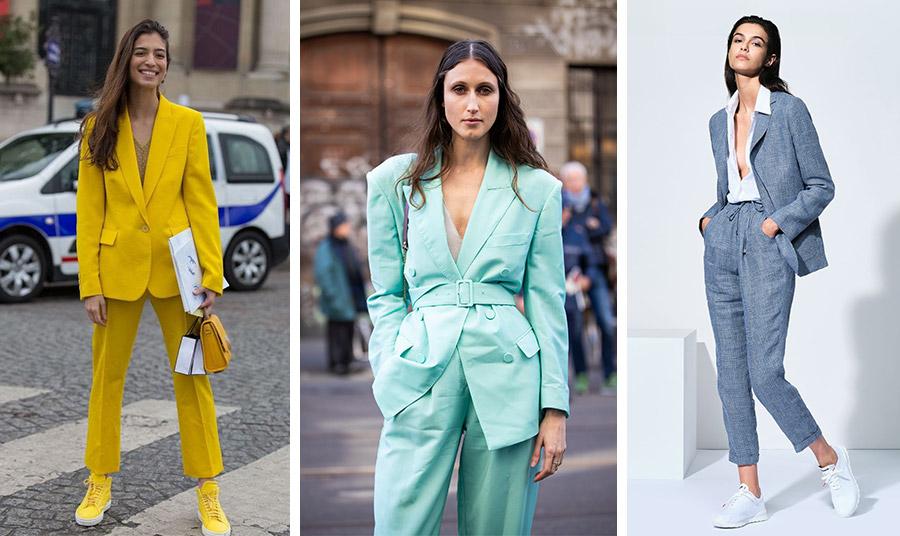 Το κοστούμι είναι μεγάλη τάση! Αλλά δεν ξεχνάμε τη θηλυκότητά μας! Με έντονα χρώματα, όπως το κυρίαρχο κίτρινο, αλλά και σε παστέλ, με φαρδιά σακάκια ή με σακάκια με τονισμένη μέση, με ίσια ή φαρδιά παντελόνια ανάλογα με το στιλ και τον σωματότυπό σας