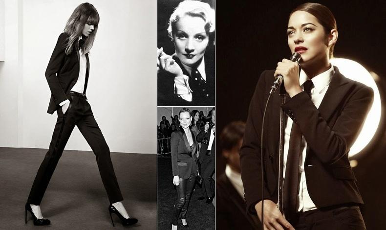 Το look Saint Laurent πάντα επίκαιρο // Μάρλεν Ντήτριχ και το κλασικό λευκό πουκάμισο και το σακάκι και η νεότερη εκδοχή με την Κέιτ Μος // Ανδρόγυνο λουκ με κατακόκκινο κραγιόν