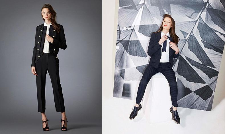 Παντελόνι, λευκό πουκάμισο και σακάκι με ψηλοτάκουνα ή ίσια παπούτσια