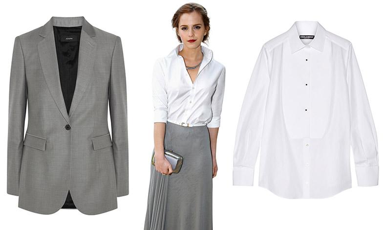 Κομψότητα και θηλυκότητα: Λευκό πουκάμισο, Dolce&Gabbana // Γκρι σακάκι, Joseph