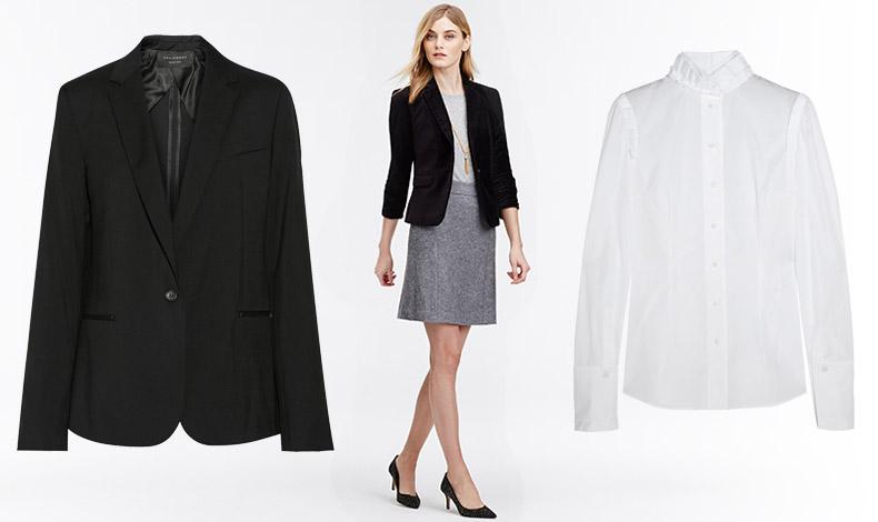 Μαύρο σακάκι, Equipment // Στιλ για την επαγγελματική καθημερινότητα, Ann Taylor // Λευκό πουκάμισο, Αlexander McQueen