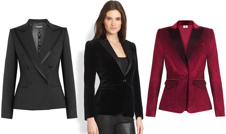 Άψογο σακάκι με ρέλια, Dolce&Gabbana // Βελούδινο μαύρο σακάκι, Ralph Lauren // Βελούδινο σακάκι στο κόκκινο της Βουργουνδίας, Altazura