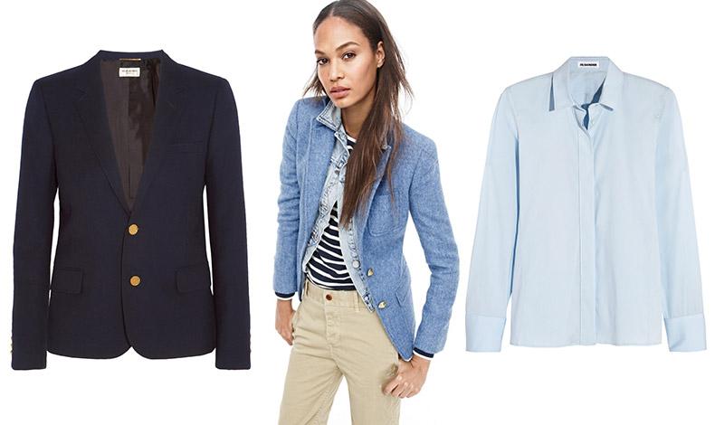 Μπλε σακάκι, Saint Laurent // Ακόμη και για πιο casual εμφανίσεις στο γραφείο, το blazer αποτελεί βασικό κομμάτι, J.Crew // Γαλάζιο πουκάμισο, Jil Sander