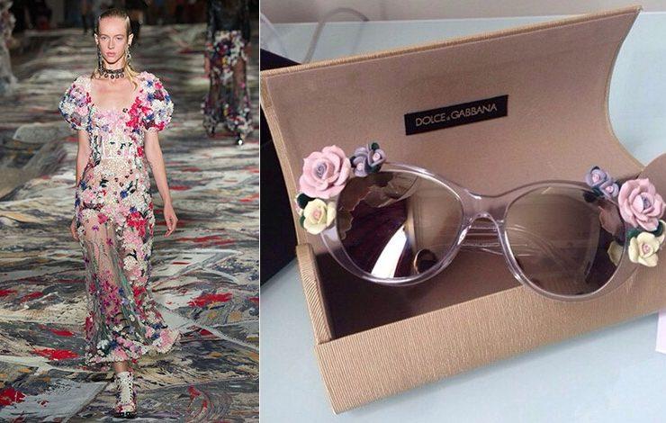 Υπέροχα απλικέ λουλούδια στο αιθέριο φόρεμα, από τη συλλογή άνοιξη-καλοκαίρι 2017, Αlexander McQueen // Γυαλιά στολισμένα με τρισδιάστατα λουλούδια, Dolce&Gabbana