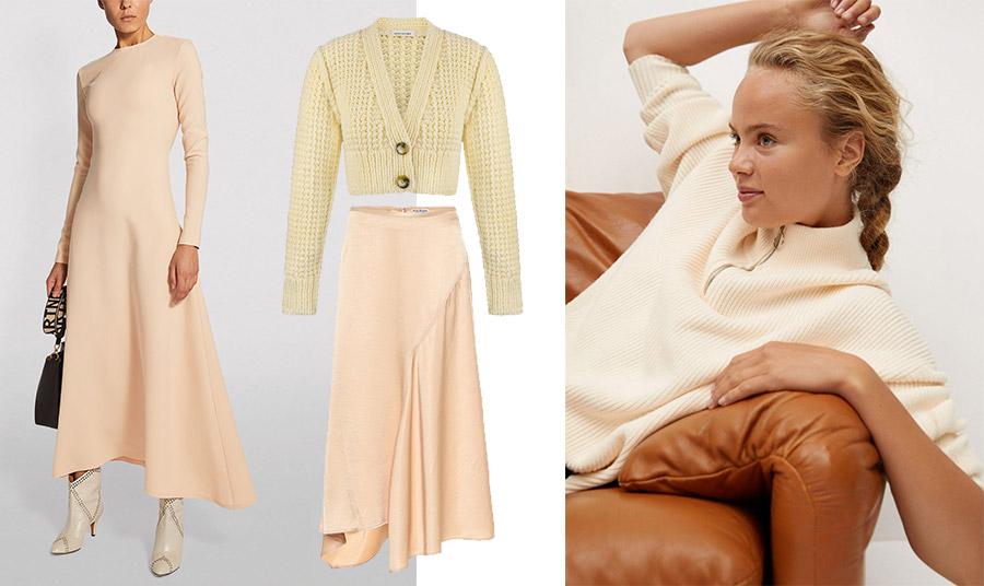 Μακρύ φόρεμα A.W.A.K.E // Πλεκτή κοντή ζακέτα, Anna // Μακριά φούστα, Acne Studios //Πουλόβερ, Mango