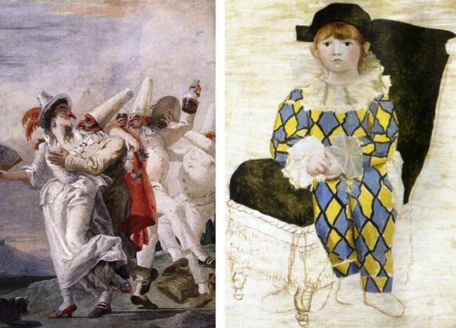 Έργο του Giovanni Domenico Tiepolo με πρωταγωνιστή τον Pulcinella // Ο Αρλεκίνος του Πικάσο
