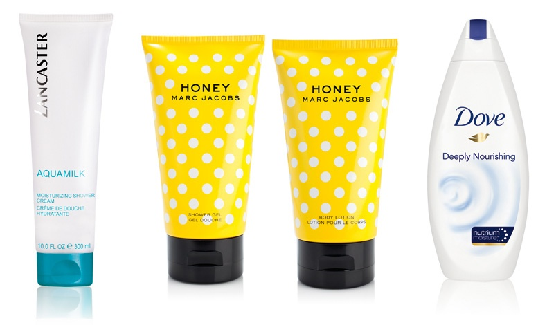 Moisturizing Shower Cream από τη σειρά Aquamilk, για αίσθηση ευεξίας, Lancaster // Ιριδίζον Body Lotion και Shower Gel από το άρωμα Honey, Marc Jacobs // To βραβευμένο αφρόλουτρο με ενυδατικά συστατικά, Deeply Nourishing, Dove