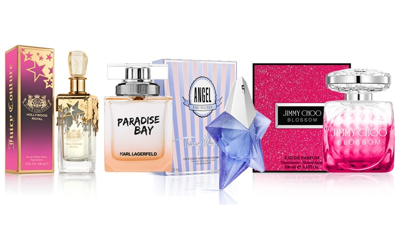Ηollywood Royal, Limited Edition Eau de Toilette, Juicy Couture // Paradise Bay for women, Karl Lagerfeld // Angel Eau Sucreé, Thierry Mugler // Blossom, Jimmy Choo