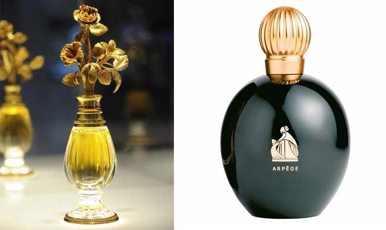 Ένα από τα πιο εξεζητημένα μπουκάλια όλων των εποχών, από κρύσταλλο Baccarat με επιχρυσωμένα μπρονζέ λουλούδια για το άρωμα Miss Dior του 1947 // Arpege, Lanvin ένα πολύτιμο μπουκάλι Αρ Ντεκό από το 1927