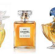 Το μπουκάλι του Lalique με τα υπέροχα περιστέρια για το L' Air du Temps, Νina Ricci του 1952 // Το πρώτο μίνιμαλ μπουκάλι αρώματος σε στιλ αρ ντεκό, διαχρονικά κομψό, Chanel No5 // Περίτεχνο και πολύτιμο, το Shalimar, Guerlain