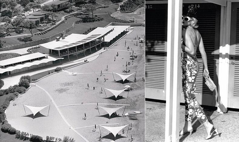 Άποψη από ψηλά της Λαϊκής Πλαζ το 1962, με τα πολύ μοντέρνα για την εποχή στέγαστρα για τον ήλιο // Στιγμιότυπα από φωτογράφηση μόδας στην πλαζ του Αστέρα με την στυλιστική επιμέλεια του Βασίλη Ζούλια