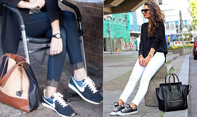 Αναδείξτε τον αστράγαλο και τα αθλητικά σας, όπως ένα λευκό τζιν με μαύρα αθλητικά. Κομψό και άκρως ανοιξιάτικο //  Χειμώνα ή καλοκαίρι, η κάλτσα δεν πρέπει να φαίνεται