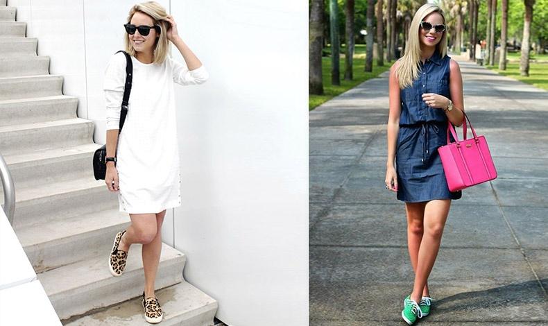 Αυτά τα λεοπάρ slip on sneakers δείχνουν εξίσου ωραία με τζιν ή με ένα casual φόρεμα // Τζιν φόρεμα με έντονα χρώματα στα αθλητικά αλλά και στην τσάντα