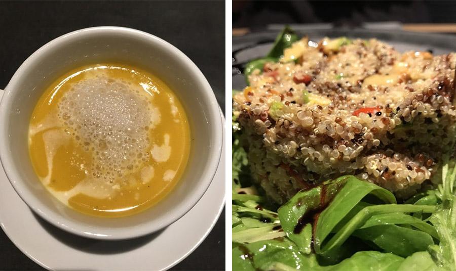 Υπέροχη σούπα κολοκύθας με αφρό καρύδας // Σαλάτα με κινόα