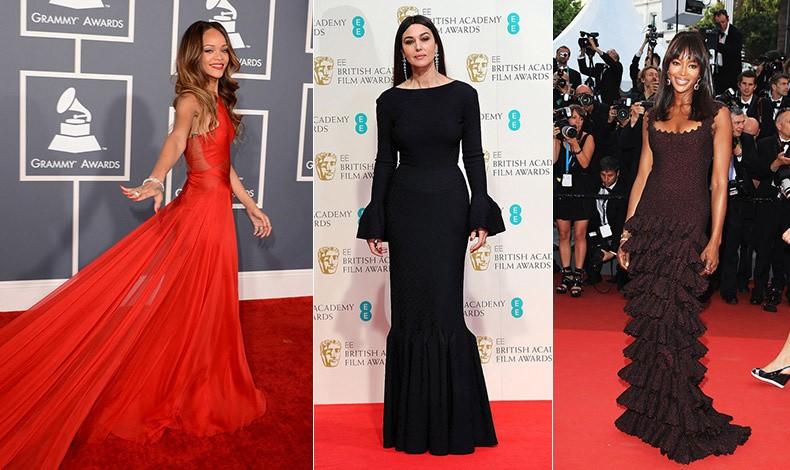Η Rihanna με κόκκινη τουαλέτα του Azzedine Alaïa στα βραβεία Grammy, 2013 // H απόλυτη «γλυπτική» κομψότητα για τη Μόνικα Μπελούτσι, στα βραβεία Bafta, 2015 // Η Ναόμι Κάμπελ με φόρεμα του αγαπημένου της σχεδιαστή στις Κάννες, 2011