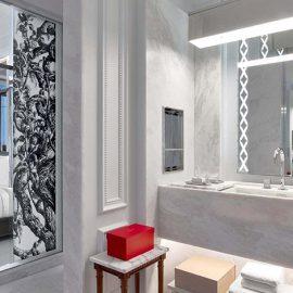 Η ίδια αίσθηση πολυτέλειας και προσοχής στη λεπτομέρεια κυριαρχεί φυσικά και στα μπάνια όλων των δωματίων