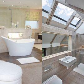 Ο άπλετος φυσικός φωτισμός και ο κρυφός φωτισμός αναδεικνύονται σε σημαντικούς παράγοντες για ένα ωραίο σύγχρονο μπάνιο