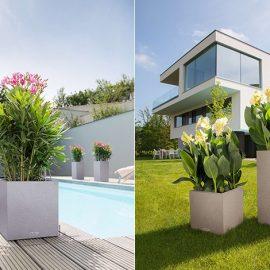 Ανάλογα πάλι με τις διαστάσεις του εξωτερικού σας χώρου, θα διαλέξετε και τις γλάστρες και τα φυτά σας. Οι γλάστρες Lechuza διαθέτουν μεγάλη ποικιλία