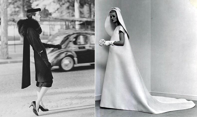 Φόρεμα και παλτό με την υπογραφή του Ισπανού μετρ, 1950 // Νυφικό σε σχέδιο Balenciaga από το 1967