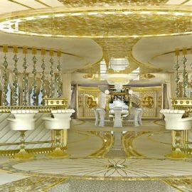 Χρυσό, κρύσταλλα Swarovski και πάλι χρυσό, σε ένα από τα μπαρ του σκάφους