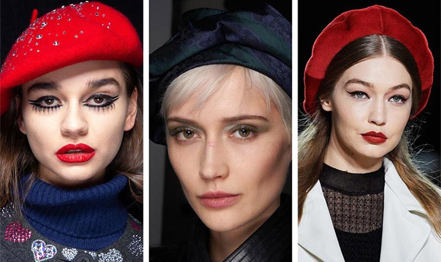 Από τις πασαρέλες φθινόπωρο 2020-χειμώνας 2021: Σε κατακόκκινο χρώμα στολισμένα με κρυσταλλάκια, Libertine // Μαύρο σατέν, Emporio Armani // Κόκκινο-μπορντό φορεμένο στο πίσω μέρος του κεφαλιού, Marc Jacobs