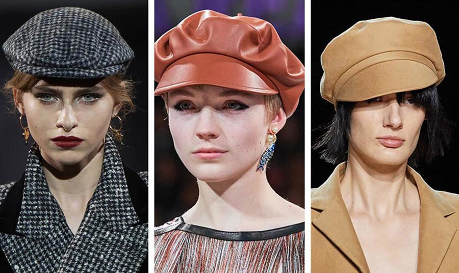 Από τις πασαρέλες φθινόπωρο 2020-χειμώνας 2021: Γαλλικές επιρροές και τουίντ, Dolce & Gabbana // Δερμάτινος μπερές με γείσο, Christian Dior // Σε καμηλό χρώμα, Marc Jacobs