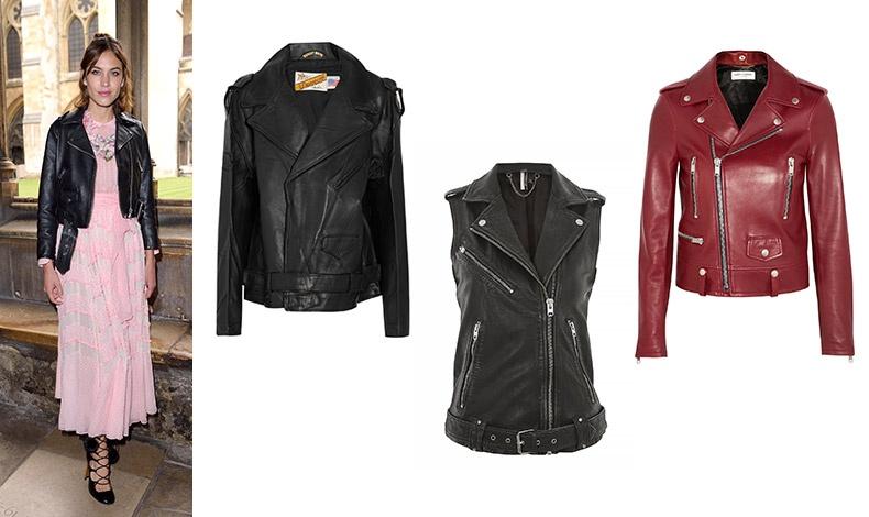 Η Alexa Chung με biker jacket, ροζ φόρεμα και ψηλοτάκουνα πέδιλα // Κλασικό biker jacket, Perfecto, Vetements // Aμάνικο, Topshop // Mπορντό, Saint Laurent