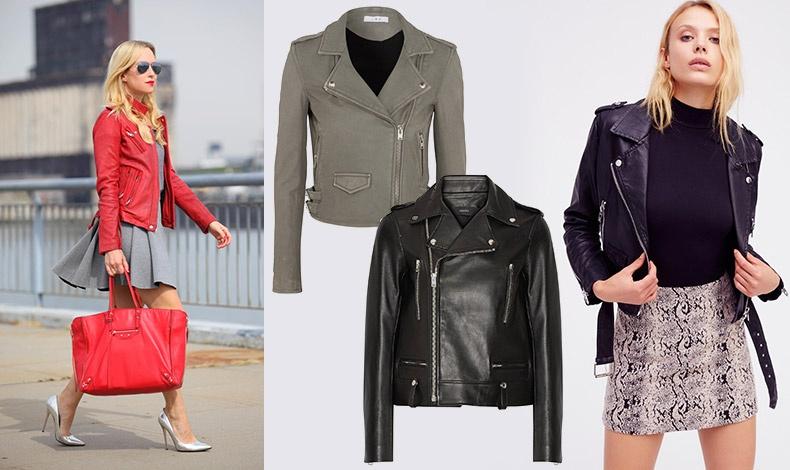 Κόκκινο τζάκετ συνδυασμένο με ανάλογη τσάντα και γκρι φόρεμα και γόβες // Γκρι, Ιro // Mαύρο, Joseph // Mε μίνι φούστα, Free People