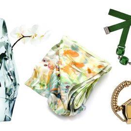 Βάζο, αληθινό γλυπτό του Fredrikson Stallard 2016 // Μαντήλι του σχεδιαστή μόδας Erdem από το καλοκαίρι του 2009 // Φωτεινό πράσινο τσόκερ, Rosie Assoulin, χειμώνας 2016 // Δημιουργία του Jean Paul Gaultier, καλοκαίρι 2016