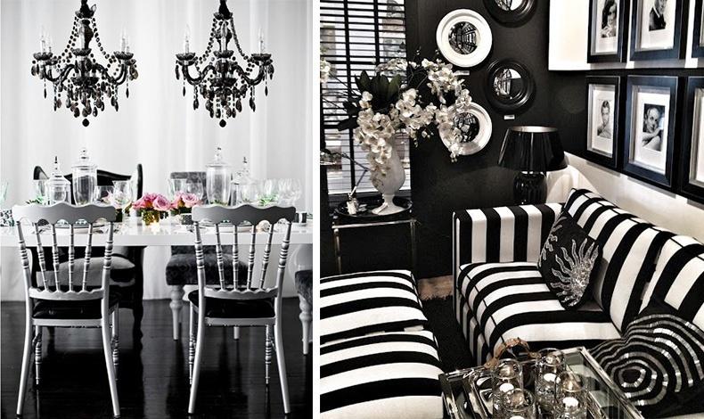 Λευκό στα έπιπλα και τους τοίχους με πινελιές μαύρου στα φωτιστικά και στα μαξιλαράκια για μία γοητευτική τραπεζαρία // Μαυρόασπρο ριγέ για τα έπιπλα και συνδυασμοί με μαύρο λευκό στους τοίχους και στα διακοσμητικά με λαμπερές ασημένιες λεπτομέρειες