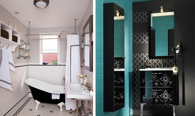 Μαυρόασπρο μπάνιο και vintage διάθεση! // Πολύ μοντέρνα αίσθηση ο συνδυασμός του τιρκουάζ με το μαύρο για το μπάνιο σας