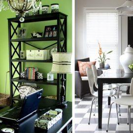 Δυνατός συνδυασμός: η απόχρωση του λάιμ πράσινου με μαύρα έπιπλα ακόμη και για το γραφείο // Μαυρόασπρα πλακάκια και έπιπλα για την τραπεζαρία ή την κουζίνα σας