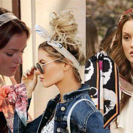 Φορέστε ένα μεταξωτό μαντίλι σαν κορδέλα, όπως η Blair με μία χαλαρή αλογοουρά (αριστερά) ή με ελεύθερα μαλλιά (δεξιά). Στο κέντρο, η σημερινή εκδοχή με ψηλό «ακατάστατο» κότσο) Μπαντάνα- μαντίλι στο κλασικό μοτίβο, Missoni // Μαντίλι με λευκούς πανσέδες, Valentino