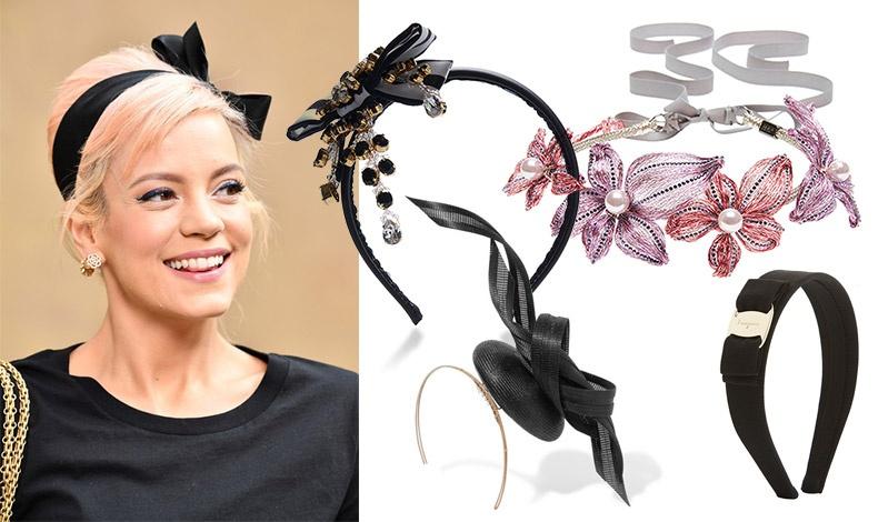 Για βραδινό λουκ με άψογο στιλ, ένας σατέν μαύρος φιόγκος, Chanel // Λεπτή μαύρη στέκα με στολίδια από χάντρες και στρας Dolce&Gabbana // Λεπτή στέκα με λουλούδια και πέρλες, Colette Malouf // Χρυσή μεταλλική στέκα με ευφάνταστο φιόγκο, Philippe Treacy // Στέκα από κορδέλα γκρο με χρυσό κούμπωμα, Salvatore Ferragamo