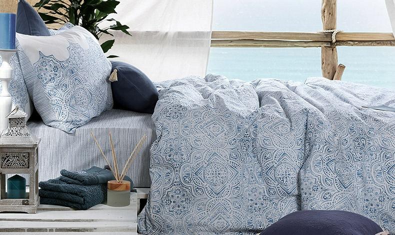 Σετ σεντόνια και μαξιλαροθήκες από 100% βαμβακερό ύφασμα, Henna Blue Collection, NEF-NEF Homeware