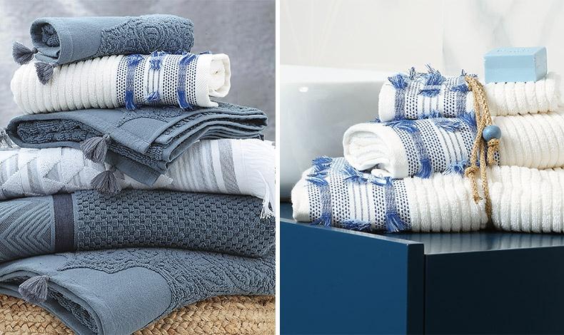 Για να δώσετε την αύρα της θάλασσας στο μπάνιο σας, επιλέξτε σε γαλάζια και λευκά χρώματα από τη νέα συλλογή, NEF-NEF Homeware // Λευκές πετσε?τες με γαλάζιες λεπτομέρειες, Palina, απο? 100% βαμβα?κι, τo σετ 3 τμχ 36,00?, NEF-NEF Homeware