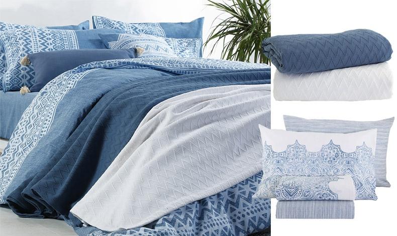 Για γαλάζια? όνειρα! Στρώστε το κρεβάτι σας σε μπλε αποχρώσεις με τις νέες συλλογές Blue, NEF-NEF Homeware // Κουβέρτες σε μπλε ή λευκό, υπέρδιπλες, 59,00?, από τη συλλογή Summer Blue // Σετ σεντονιών Henna Blue, από ύφασμα 100% βαμβακερό, τα μονά 36,00?, τα υπέρδιπλα, 52,00?, όλα, NEF-NEF Homeware