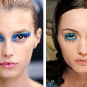 Γραφίστικη άποψη και λαμπερά μπλε στρας για τον οίκο Dior // Σε έντονο τυρκουάζ η σκιά και η μάσκαρα στον οίκο Moncler